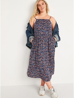 Floral-Print Fit & Flare Cami Midi Sundress for Women