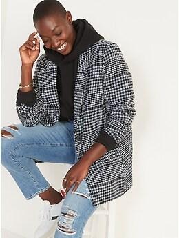 Oversized Plaid Soft-Brushed Tweed Blazer for Women