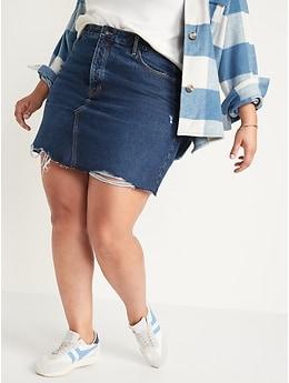 Higher High-Waisted Button-Fly O.G. Straight Mini Jean Skirt for Women