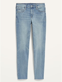 Mid-Rise Rockstar Super Skinny Cut-Off Ankle Jeans for Women